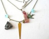 Multi strands Witch secret charms necklace ( curse, stone, talhakimt, brass pendant ) 02