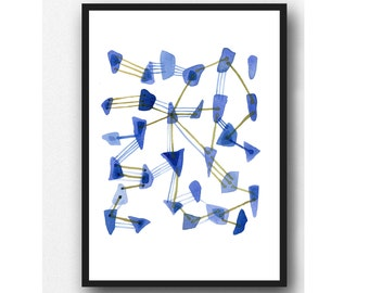 Watercolor painting Sea glass art Abstract painting blue watercolor print nautical home decor