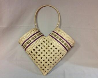 Hand Woven Friendship Basket, Wall or Door Hanging Basket