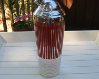 Cocktail Shaker - Red and White Stripe Design - Oak Hill Vintage