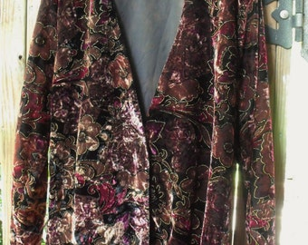 Vintage Velveteen Flower Jacket/Gorgeous Retro Floral Print Outlined in Gold/ Size Large, Made in USA LinedJacket/ Shabbyfab Funwear
