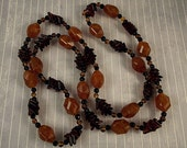 Vintage Fall Colors Butterscotch Plastic Tortoise Glass Beads Long Heavy Necklace Chevron Fun Casual Fall Autumn Jewelry Single Strand