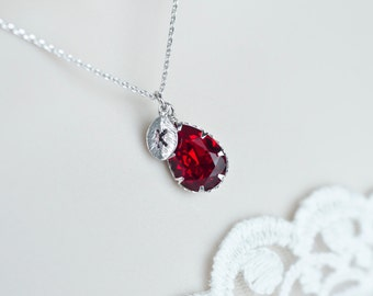 Ruby Swarovski Teardrop Initial Necklace, Ruby Birthstone Personalized Initial Necklace, Monogram Initial Necklace, Bridesmaids Gift