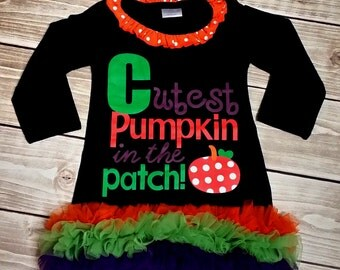 Girls Halloween Cutest Pumpkin in the Patch Dress