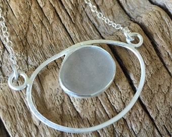 frosted white sea glass in sterling silver necklace
