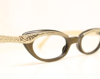 Unused Combination Vintage Cat Eye Glasses Gray cateye frames eyeglasses NOS