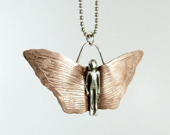 PMC, Sterling, And Copper Butterfly Pendant - Hadley Spreads Her Wings - Butterfly Art Jewelry Pendant - Strength - Empowerment - 885
