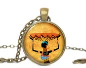 African Woman Necklace, Africa Pendant, Afican Woman with Basket pendant, Yellow necklace, Africa necklace , Black woman, Gift for Women