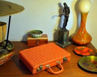 "Unusual Mod Orange Woven ""Wicker"" Briefcase: Bright Plastic Vintage Business Valise / Attache / Carry On / Laptop Case"
