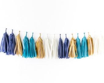 Tissue Tassel Garland Kit - Indigo