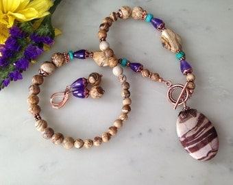 BEAUTY of EARTH-picture jasper, amethyst, turquoise necklase set, jasper pendant, genuine copper, handmade