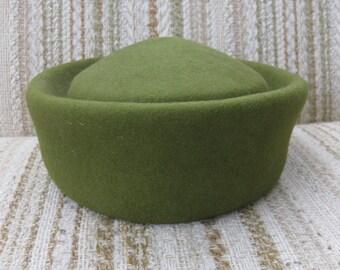 Boutique Kate's Olive Felt Pillbox Hat