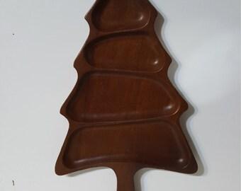 Vintage Danish Teak Serving Tray Christmas Tree Shape Mid Century Modern