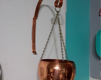 Vintage Copper Hanging Pod Planter With Hanger Mid Century Modern Coppercraft Guild