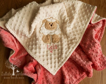 Personalized Minky Baby Blanket, Lamb Appliqued Minky Blanket, Baby Girl Minky Blanket, Personalized Baby Gift, Farm Nursery