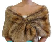 Vintage Brown faux fur stole, Bridal shrug, faux fur wrap, faux fur shawl, faux fur cape 800M...