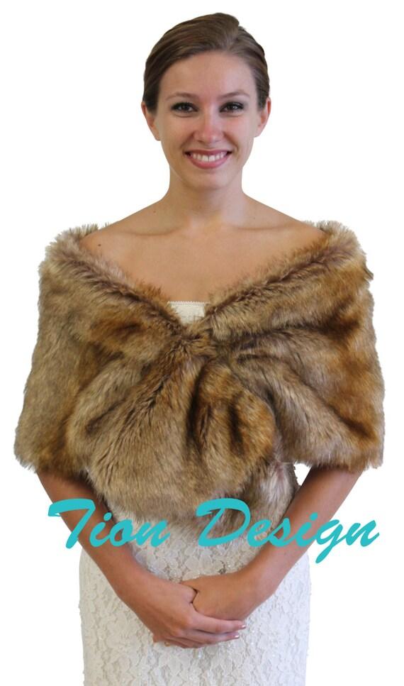 Vintage brown faux fur wrap bridal wrap bridal shrug by tiondesign - Stoel fur ...