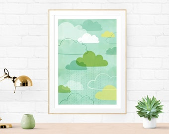 Rainy Day, Dream Away -  cloud illustration, giclee art print