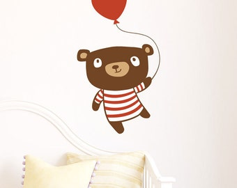 Nursery Wall Decal - Birthday Bear - Nursery Wall Sticker