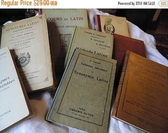 Antique French Text Books - Paris Apartment - Cottage Chic - set of 8