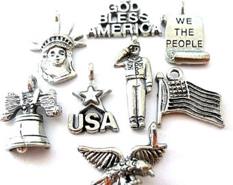 8 United States patriotic charms, antiqued silver pewter American July 4 charms, USA, Liberty Bell, Statue of Liberty, Constitution, eagle