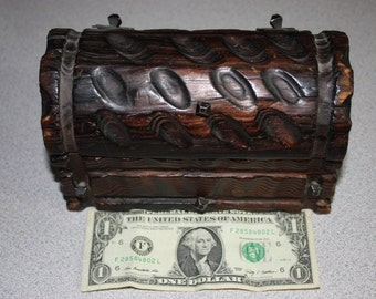 miniature handmade wooden pirates unlined treasure chest made in spain