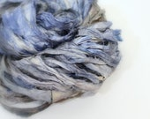 """Recycled Sari Ribbon , """"Storm Surge"""" by the yard, hand dyed chiffon ribbon, jewelry making, doll clothing, spinning supplies"""