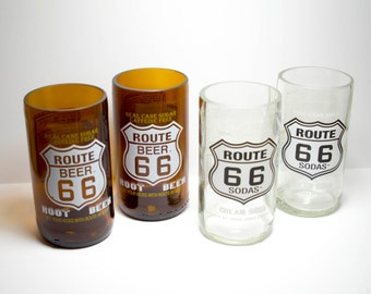 Route 66 Root Beer Cream Soda Bottle Drinking Glasses Tumblers set of 4