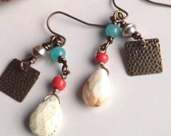 Tribal Earrings, Lemon Chrysoprase, Angelite Beads, Antiques Brass
