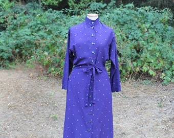 French Purple Silk Shirt Dress // 1980s Secretary Dress