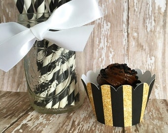 gold and black stripe mini cupcake wrappers, gold striped mini cupcake wrappers, wedding cupcake wrappers, set of 24