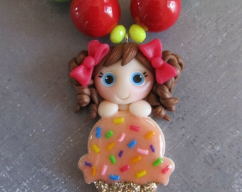 Girls chunky necklace, ice cream cutie, sweet gift for little girl, bubblegum necklace, birthday gift, boutique necklace, polymer clay charm