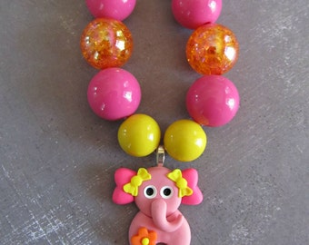 Sweet elephant necklace, zoo, birthday party, stocking stuffer, birthday gift, chunky necklace, bubblegum necklace, zoo friends