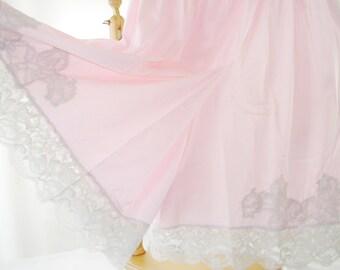 Pink Culotte Slip 1960 Lavish Lace Leg Pristine American Made Medium