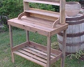 POTTING TABLE - Country Primitive - FRee SHiPPiNG - Yard & Garden Table - Grilling/Bar-B-Q Organizer Table - Work Shop - Crafting Bench!