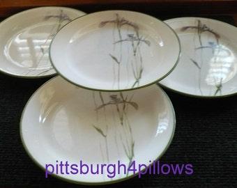4 - Corelle - Shadow Iris - Salad Plates - 7 1/4 - Green On Edge - Read Description - EUC - No Damage -  Price Is For 4