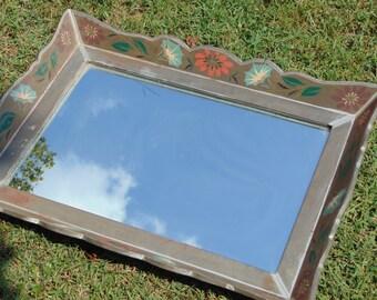Vintage Mirror, Vintage Tray, Folk Art, Floral Mirror, Wall Mirror