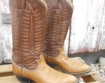 Vintage Tony Lama Black label Brown fancy Cowboy Boots size 8E womens