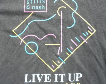 Vintage 1990 Crosby Stills & Nash Live it up World Tour T-shirt Shirt size Large