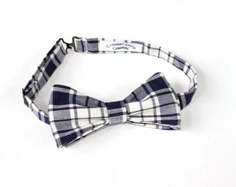 Plaid Bow Tie for Men - Blue Bow Tie - Unique Bow Tie - Plaid Bowtie - Mens Bow Tie