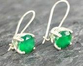 Green Onyx Earrings Gift For Her , Sterling Silver Earrings , Green Onyx Jewelry , Green Gemstone Earrings