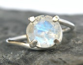 Rainbow Moonstone Engagement Ring in Sterling Silver , Rainbow Moonstone Silver Ring , Moonstone Jewelry , Sparkle Gemstone - MADE TO ORDER