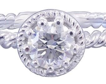 14K White Gold Round Cut Diamond Engagement Ring Braided Prong Set Deco 0.40ctw