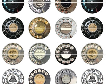 """Phone Dial Pins, Phone Dial Magnets, Retro Rotary Phone Dials, 1"""" Inch Flat Backs, Hollow Backs, Cabochons, Magnets and Pins"""