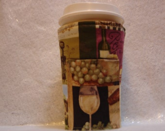 Arti REVERSIBLE Coffee Cup Sleeve, WINE and Grapes  For STARBUCKS To-Go Cups / with Pocket