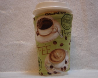 Arti REVERSIBLE Coffee Cup Sleeve, ORGANIC Coffee Java For STARBUCKS To-Go Cups / with Pocket