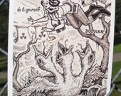 FEEDING Postcard by David Jablow Doodle Pad Art 5x7 Glossy