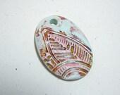 Leaf Pendant Handmade Polymer Clay Mint Green Tan Pink Textured