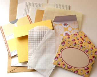 A *lemon* PACK-of-POCKETS. A selection of pouches, envelopes & pockets for all your crafty doings