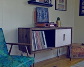 Large Reclaimed Wood Record Cabinet